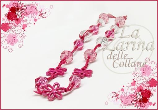 collana cristalli plastica, perle rosa, gioielli fiori, collana bianco e rosa,